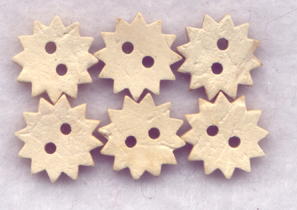 Coconut Wood Buttons Star Decorated Buttons 13mm (1/2 inch) Set of 12/Mini02