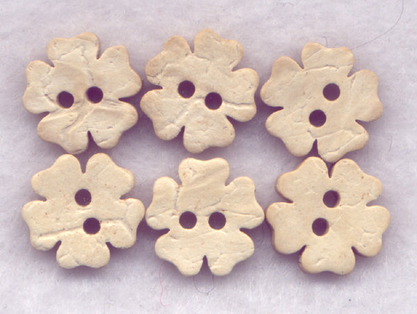 Coconut Wood Buttons Flower Decorated 13mm (1/2 inch) Set of 12/Mini03