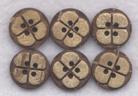 Coconut Wood Buttons Flower Decorated Wooden Buttons 14mm (1/2 inch) Set of 12/Mini04