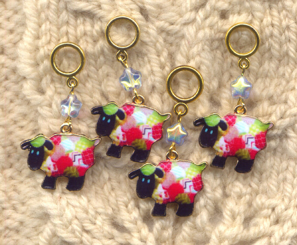 Patchwork Quilt Sheep Knitting Stitch Markers Set of 4/SM01C
