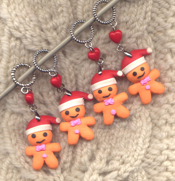 Gingerbread Boy Knitting Stitch Markers Christmas Cookie Set of 4 /SM05A