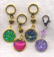 Druzy Glitter Knitting Stitch Markers  Set of 4/SM06