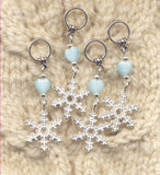 Snowflake Knitting Stitch Markers Snowflakes Snow White enamel Set of 4 /SM09C