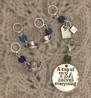 Tea Party Knitting Stitch Markers Cuppa Tea Pot Coffee LACE Set of 5/SM111