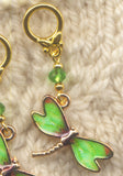 Green Dragonfly Knitting Stitch Markers enameled Set of 4/SM116B