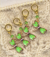 Dragonfly Spring Green Knitting Stitch Markers enameled Set of 4/SM116