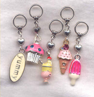 Sweet Tooth Knitting Stitch Markers Ice-cream Sunday Cupcake Yummy Set of 5 /SM127B