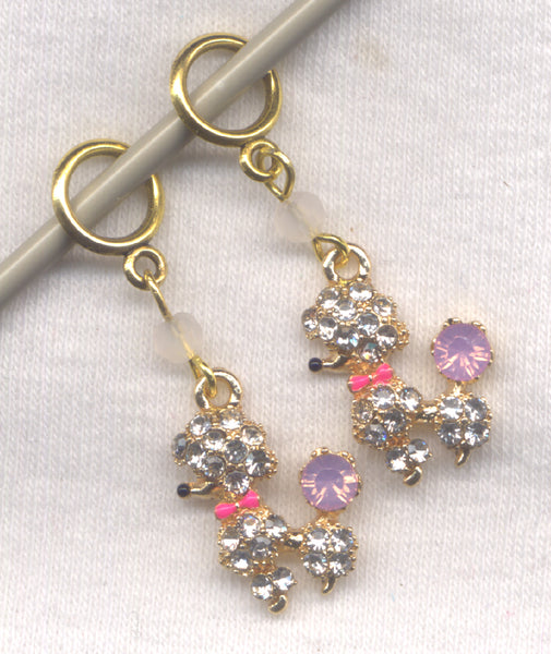 Pair of Poodles Knitting Stitch Markers Totally Bling Dogs Set of 2 /SM82