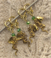 Gold Dragon Knitting Stitch Markers Chinese Golden Dragons Set of 4 /SM14