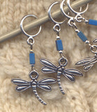 Dragonfly Knitting Stitch Markers Silver Marina Blue Set of 5/SM15