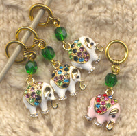 Bling Elephants Knitting Stitch Markers White Elephants Set of 4 /SM16