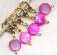 Hot Pink Coin Knitting Stitch Markers Mother of Pearl Set of 5/SM162C
