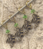 Bronze 3-D Dragon Knitting Stitch Markers  Set of 4 /SM183