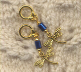 Dragonfly Knitting Stitch Markers Blue and Gold Set of 5/SM188A