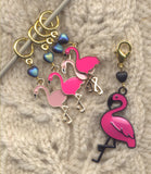 Pink Falmingos Knitting Stitch Markers tropical Charms Set of 5 /SM26