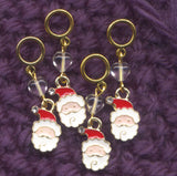 Santa Claus Knitting Stitch Markers Jolly Old St. Nick Set of 4 /SM199F