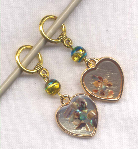 Blue Lipped Mussel Chip Heart Stitch Marker Pair /SM201E