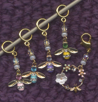 Glitter Bees knitting stitch markers Set of 5 /SM215