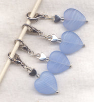 North Wind Heart Stitch Marker Clip Matte Pale Blue Striped Heart Single /SM216Q