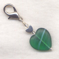 Emerald Heart Stitch Marker Clip Matte Green Striped Heart Single /SM216R
