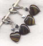 Midnight Tiger Heart Stitch Marker Clip Glossy Striped Heart Single /SM216S