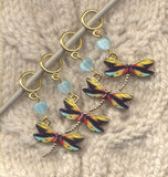 Dragonfly Exotic Stripes knitting stitch markers Set of 4/SM24 Limited Edition!