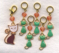 Mamma Cat and Kittens Knitting Stitch Markers  Set of 6/SM244