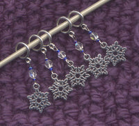 Tiny Snowflakes Knitting Stitch Markers Ice Glitter Set of 5 /SM25