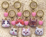Sassy Cats Knitting Stitch Markers Tabby Persian Ginger enameled Set of 6/SM259