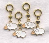 White Sheep Knitting Stitch Markers Ram Lamb Ewe enameled Set of 4/SM263A