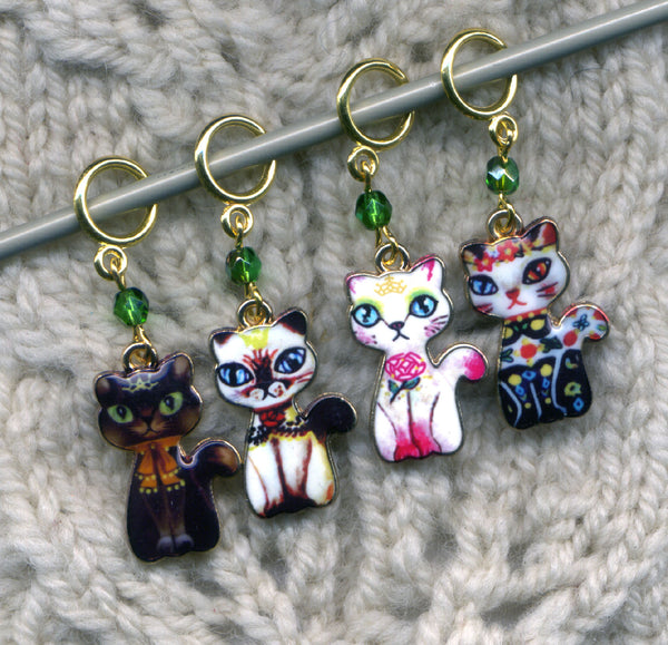 Odd Man Out Kitten Stitch Markers Naughty Kitten Love My Cats  Set of 4 /SM268