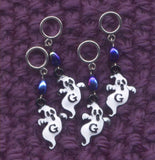Ghosts Knitting Stitch Markers Enameled Spooks  Set of 4 /SM270