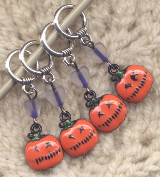 Happy Jack Knitting Stitch Markers Jack-o-lantern Halloween Fun Set of 4/SM274