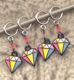 Rainbow Diamonds Stitch Markers Lace or Sock size rings Set of 4 /SM28