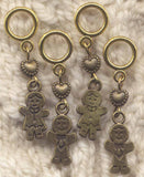 Gingerbread Boy and Girl Stitch Markers Gingerbread Man Set of 4/SM280