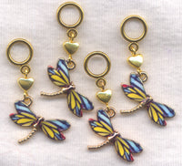 Dragonfly Tiger Stripe Knitting Stitch Markers Lace or Socks enameled Set of 4/SM288