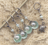 Seashells Knitting Stitch Markers Seafoam Pearls Dreaming of the Sea Set of 5/SM292