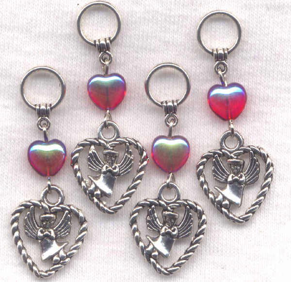 Angel Hearts Knitting Stitch Markers Red Czech hearts  Set of 4 /SM296