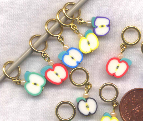 Tiny Apple Knitting Stitch Markers Assorted with Lace Rings Set of 5 /SM297