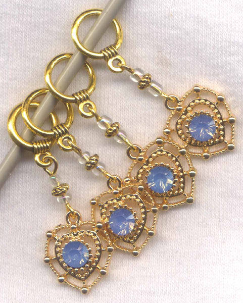 Glitter Heart of Gold Stitch Markers Ice Blue Rhinestone Set of 4 /SM299
