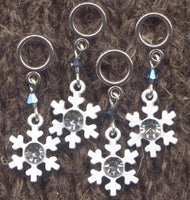 Bling Snowflake Stitch Markers Lace or Sock size rings Set of 4 /SM301