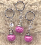 Purple Fairy Dust Stitch Markers Touch of Faerie Magic  Set of 3 /SM304