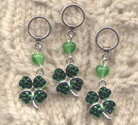 4 Leaf Clover Knitting Stitch Markers Bling Luck of the Irish Set of 3/SM309