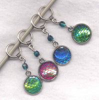 Mermaid Scales Knitting Stitch Markers Bling and Sparkle Set of 4/SM310