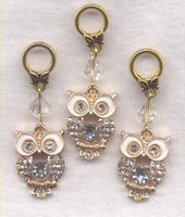 Glitter Owl Knitting Stitch Markers Bling and Sparkle Set of 3/SM313