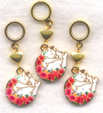 Cuddle Cats Knitting Stitch Markers White Cat Set of 3 /SM319