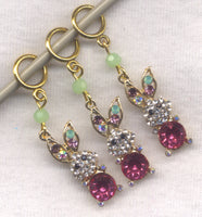 Bling Bunnies Knitting Stitch Markers rhinestone glitter Set of 3 /SM102