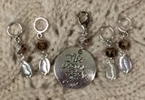 Life Begins After Coffee Knitting Stitch Markers Cuppa Joe Java Mocha Set of 5/SM338