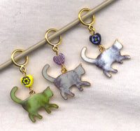 Silhouette Cats Knitting Stitch Markers Strolling the Cat Walk Set of 3 /SM346