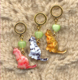 Silhouette Cats Knitting Stitch Markers Politely Seated Set of 3 /SM347